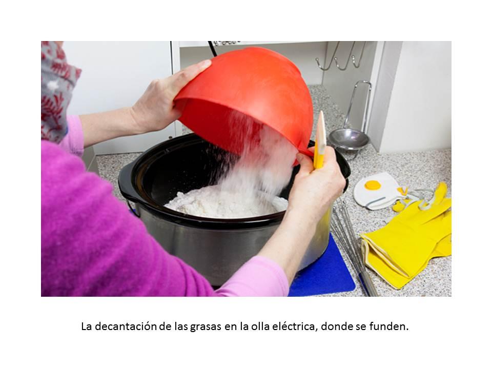 La decantación de las grasas en la olla eléctrica, donde se funden