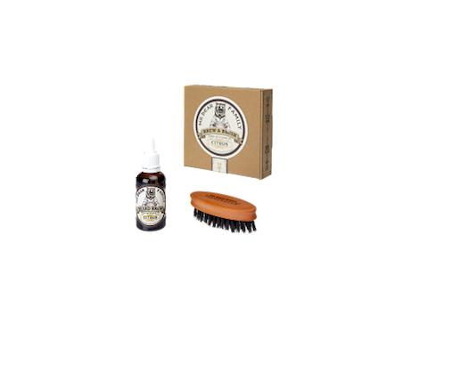 Pack Mr. Bear Citrus Aceite y Cepillo Para La Barba